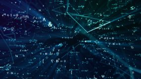 Digital futuristic illustration with math, physics formulas in mesh network grid