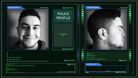 Digital futuristic police officer profile interface corner pin angle