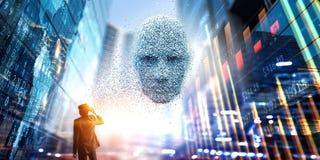 Digital głowa, sztuczna inteligencja i rzeczywistość wirtualna, Mieszani środki zdjęcia stock