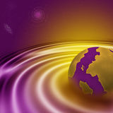 Digital Galaxy, Purple and Yellow. View of a digital galaxy with a pink and yellow planet Stock Illustration