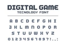 Digital game technology font. Retro letters and numbers for video, computer, mobile app logo design. Pixel art, 8 bit. Digital game technology font. Geometric Vector Illustration