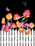 Digital Garden. A colorful digital garden complete with butterflies, flowers, and a white picket fence Royalty Free Stock Photography