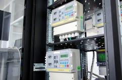 Digital gas flow meter, mounted in rack. Digital gas flow meters, mounted in rack Royalty Free Stock Photos