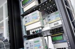 Digital gas flow meter, mounted in rack. Digital gas flow meters, mounted in rack Royalty Free Stock Photo