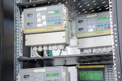Digital gas flow meter, mounted in rack. Digital gas flow meters, mounted in rack Stock Photos