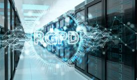 Digital GDPR interface in server room 3D rendering Royalty Free Stock Photos