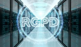 Digital GDPR interface in server room 3D rendering Stock Photography