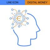 Digital-Geld-Ideen-flache Linie Vektorikone Stockbild