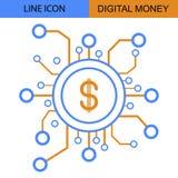 Digital-Geld-Linie Vektorikone Lizenzfreie Stockfotografie