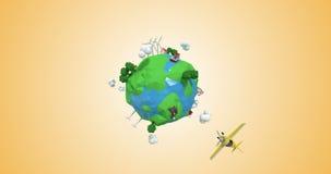 Digital generada de los aviones que viajan en todo el mundo libre illustration
