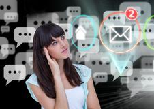 Digital generated image of a woman with message icons. Digital generated image of a thoughtful woman with message icons Royalty Free Stock Photos