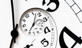 Digital generated twisted clock face. Twisted clock face with arrows. Time concept Royalty Free Stock Images