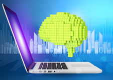 Digital generation of green voxel brain with Stock Image