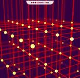 Digital geometrisk abstraktion med linjer och punkter futuristic abstrakt bakgrund stock illustrationer