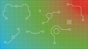 Digital gerou a animação contra o multi teste padrão de grade colorido ilustração stock