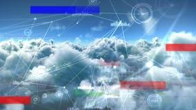 Digital gerou a animação do céu com lote de nebuloso e de chiar no primeiro plano ilustração royalty free