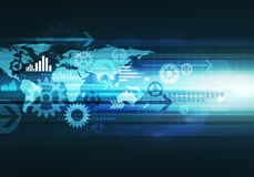Digital-Geschäftstechnologiehintergrund mit Weltkarte, Pfeil und Lizenzfreies Stockfoto