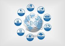 Digital-Geschäftsillustration Ikonen von globalen digitalen Industrien mögen ein Bankkonto haben, Versicherung, Logistik Lizenzfreie Stockfotografie