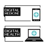 Digital-Gesundheitsfahnen mit Computer- und Smartphoneikonen stock abbildung