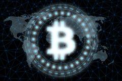 Digital glödande Bitcoin ledde ljus svävande över världskartan som omgavs av knutpunkter för globalt nätverk för atmosfär royaltyfri illustrationer
