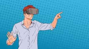 Digital-Glas-Knall Art Colorful Retro Style der Mann-Abnutzungs-virtuellen Realität Lizenzfreies Stockbild