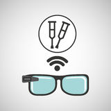 Digital glasses wifi medical crutch Stock Image