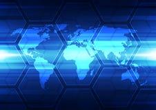 Digital global teknologi för vektor, abstrakt bakgrund Fotografering för Bildbyråer