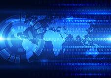 Digital global teknologi för vektor, abstrakt bakgrund Arkivfoton