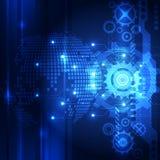 Digital global teknologi för vektor, abstrakt bakgrund Arkivbilder