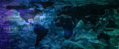 Digital globalt teknologibegrepp arkivbilder