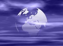 Digital globe. Computer generated reflective digital globe with dark blue clouds background royalty free illustration