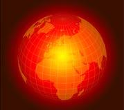 Digital globe. Powerful glowing red digital globe with dark red background stock illustration