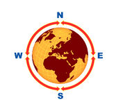 Digital globe. The digital globe with yellow and brown colour east west south north red arrows with isolate background vector illustration