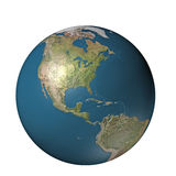 Digital globe america. A 3D generated globe with terrain centered on America Stock Image