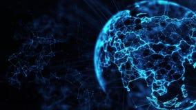 Digital globe big data social network Earth planet hologram 4k loop background