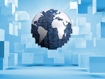 Digital globe on blue background with cubes Royalty Free Stock Images