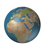 Digital globe Europe. A 3D generated globe with terrain centered on Europe Royalty Free Stock Image
