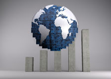Digital globe in front of statistic Stock Image