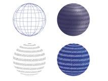 Digital globe  illustration. Wireframe and digital globe  illustrations Stock Image