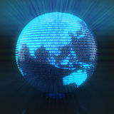 Digital globe with map of Asia. Map of Asia on globe formed by binary code, 3d render Royalty Free Stock Photos