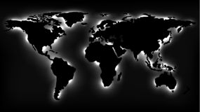 Monochrome Map of the World with Neon Lights vector illustration