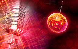 Digital globe and microphone background Royalty Free Stock Images