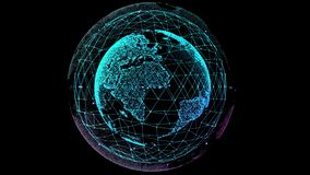 Digital Globe Network. Triangle with dots connecting and circling the globe. Networking and future. 4K Digital stock illustration