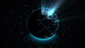 Digital globe hologram vector illustration