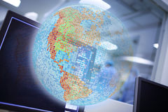 Digital globe projection, concept of world health care.  Stock Photo