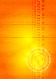 Digital glow orange. An abstract background with the use of ones and zeros stock illustration