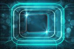 Glowing blue tunnel backdrop. Digital glowing blue tunnel backdrop. Cyberspace concept. 3D Rendering Stock Photos