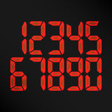 Digital Glowing Numbers Vector. Red Numbers On Black Background. etro Clock, Count, LCD Display And Electronics Royalty Free Stock Photos