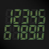 Digital Glowing Numbers Vector. Set Of Digital Green Numbers On Black Background. Classic Symbol Of time. Retro Clock, Count, Disp Stock Images