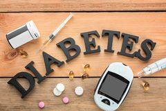 Digital glucometer, medicaments and word. `Diabetes` on wooden background Stock Photos